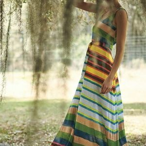 TRACY REESE antrhopologie striped maxi dress